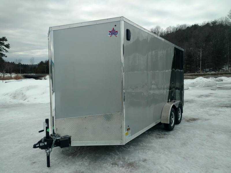 2018 US Cargo 7X16 W Ramp Silver Black Enclosed Trailer