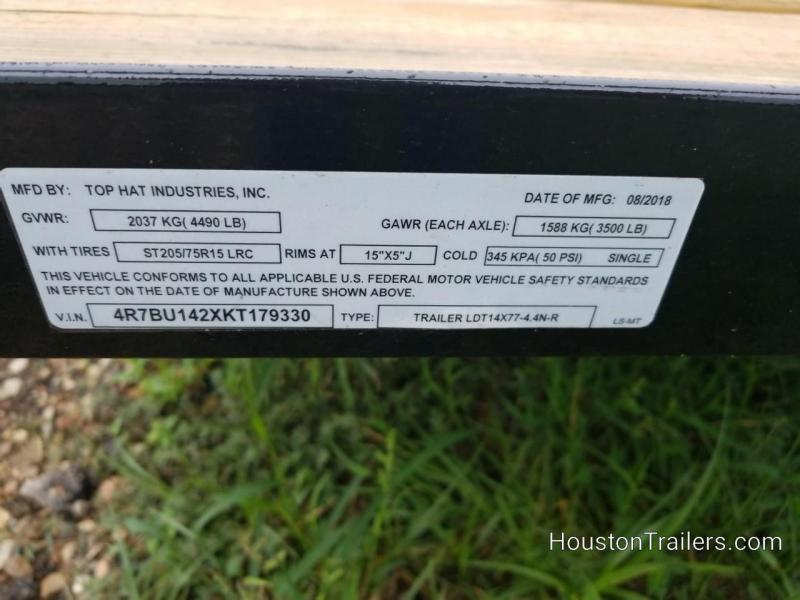 """2019 Top Hat Trailers LDT 14' x 77"""" Utility Trailer TH-140"""