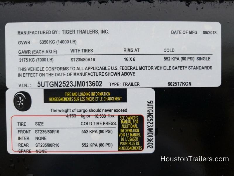 2018 Tiger Trailer 48 X 25  Gooseneck 5 Bale TI-19