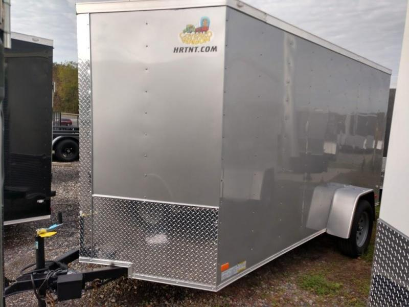 COVERED WAGON 2019 SILVER 6' x 12' SINGLE AXLE V-NOSE ENCLOSED TRAILER