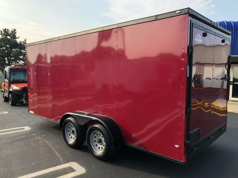 ROCK SOLID 2019 7' x 16' BRANDYWINE WITH BLACK ROCK SOLID PACKAGE TANDEM AXLE V-NOSE SEMI-SCREWLESS ENCLOSED TRAILER
