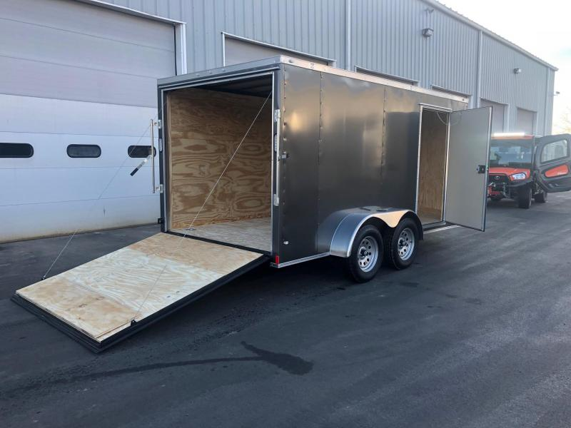 ROCK SOLID 2019 7' x 14 CHARCOAL SEMI-SCREWLESS TANDEM AXLE V-NOSE W/ TRIPLE TUBE TONGUE ENCLOSED TRAILER  SEMI-SCREWLESS