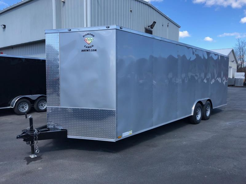 DIAMOND CARGO 2019 8.5' x 24' TANDEM AXLE SILVER FROST SEMI-SCREWLESS ENCLOSED CARGO TRAILER CAR HAULER