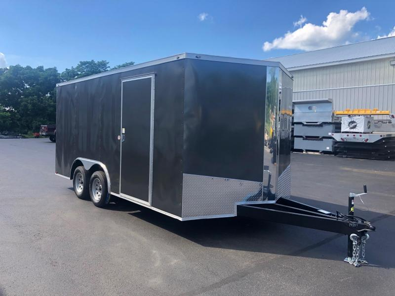 SPARTAN CARGO 2020 8.5 X 16 TANDEM AXLE CHARCOAL SEMI SCREWLESS ENCLOSED TRAILER