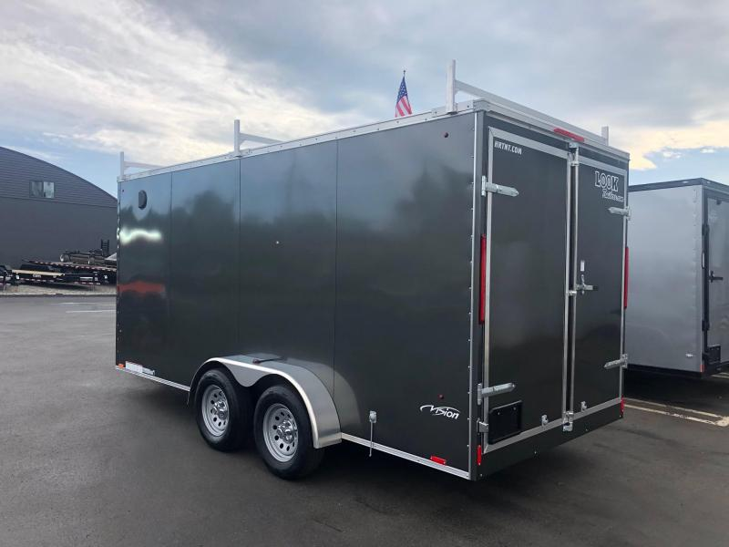2020 Look 7x16' Element Tandem Axle Screwless Charcoal Gray Enclosed Cargo Trailer w/Ladder Racks