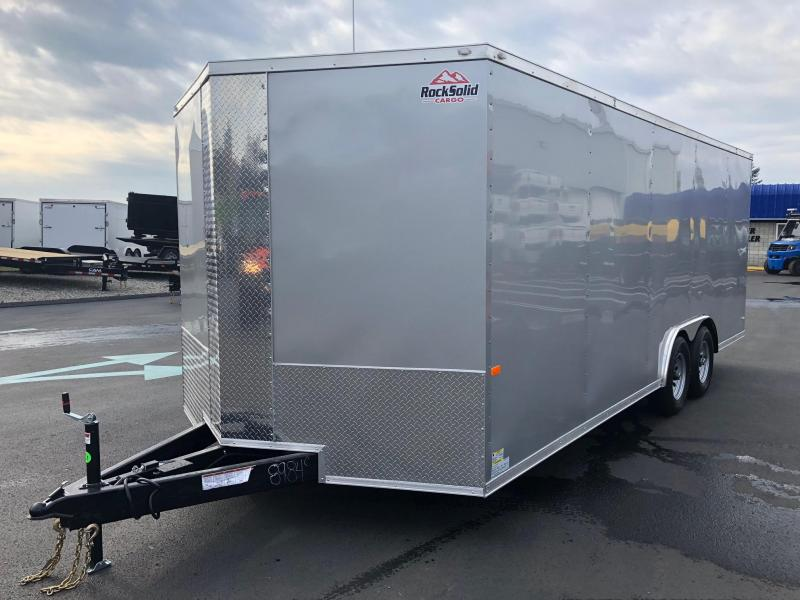 "ROCK SOLID 2019 8.5' x 20' Tandem Axle Silver Semi-Screwless Enclosed V-NOSE Trailer with 60"" Triple Tube Tongue Extended"