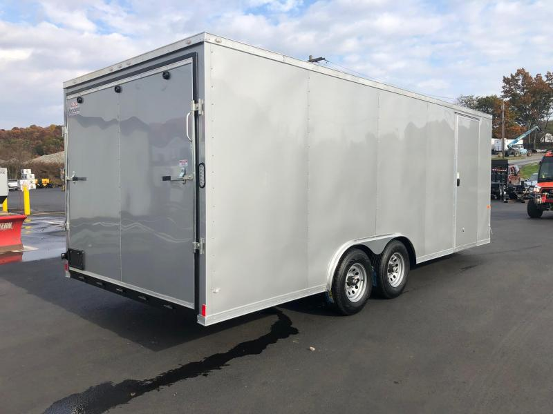 "ROCK SOLID 2019 8.5' x 20' Tandem Axle Silver Semi-Screwless Enclosed V-NOSE Trailer with 60"" Triple Tube Tongue Extended CAR HAULER"