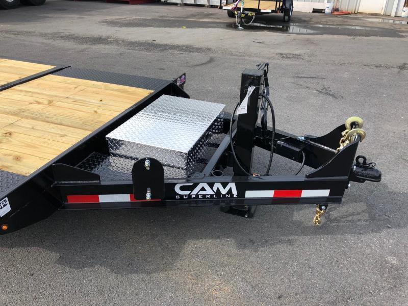 CAM 2019 7-TON 8.5' X 19' SPLIT TILT LOW PROFILE EXTRA WIDE EQUIPMENT TRAILER