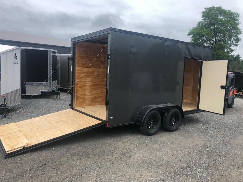 ROCK SOLID 2019 7' x 14 CHARCOAL  WITH BLACKOUT SEMI-SCREWLESS TANDEM AXLE V-NOSE ENCLOSED TRAILER