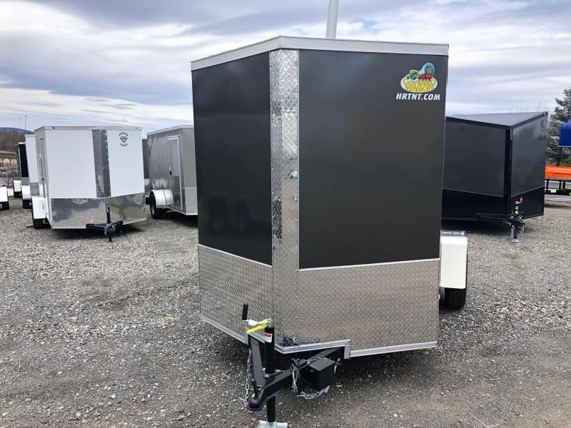 COVERED WAGON 2019 CHARCOAL 6' x 10' SINGLE AXLE V-NOSE SEMI SCREWLESS ENCLOSED CARGO TRAILER