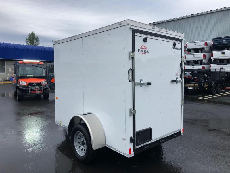ROCK SOLID 2020 5' x 8' SINGLE AXLE WHITE WITH ADDITIONAL HEIGHT ENCLOSED TRAILER