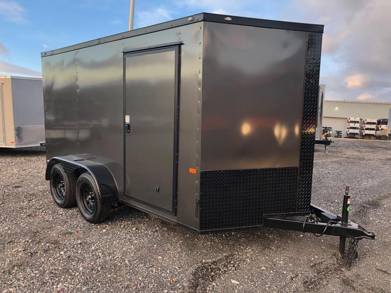 ROCK SOLID 2019 7' x 12'  TANDEM AXLE GRAY WITH BLACK PACKAGE SEMI-SCREWLESS V-NOSE ENCLOSED TRAILER