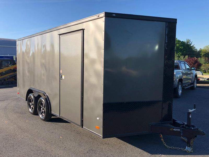 COVERED WAGON 2018 SEMI-SCREWLESS GRAY WITH BLACK GOLD PACKAGE 8.5' x 16' TA ENCLOSED CARGO TRAILER