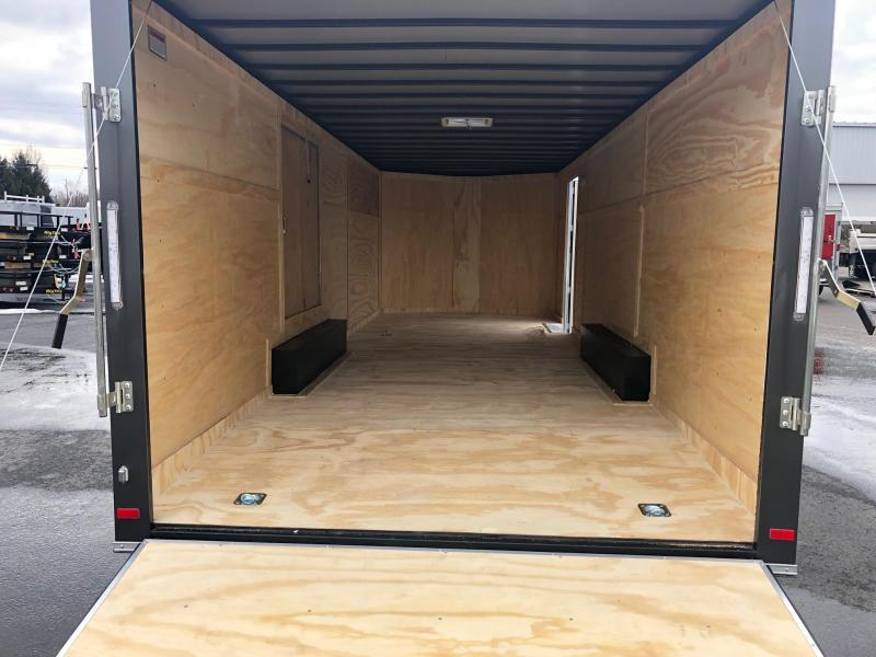 COVERED WAGON 2019 CHARCOAL 8.5' x 24' SEMI-SCREWLESS WITH ESCAPE DOOR ENCLOSED CARGO TRAILER / CAR HAULER