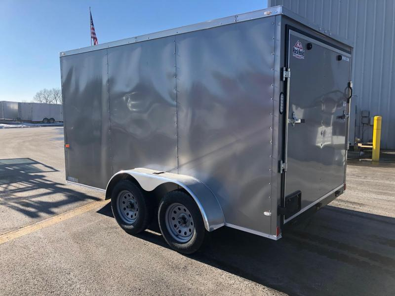ROCK SOLID 2019 7' x 12' TANDEM AXLE PEWTER V-NOSE SEMI-SCREWLESS  ENCLOSED TRAILER