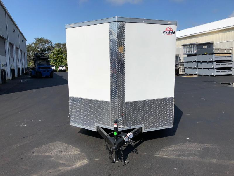 ROCK SOLID 2019 7' x 12'  WHITE TANDEM AXLE SEMI-SCREWLESS V-NOSE ENCLOSED TRAILER