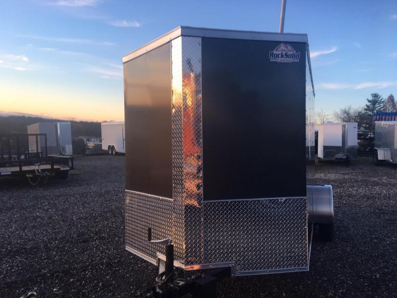 ROCK SOLID 2019 6' x 12' CHARCOAL GRAY SEMI-SCREWLESS SINGLE AXLE V-NOSE ENCLOSED TRAILER