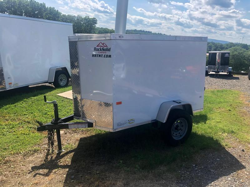 ROCK SOLID 2019 4' x 6' SINGLE AXLE WHITE  ENCLOSED TRAILER