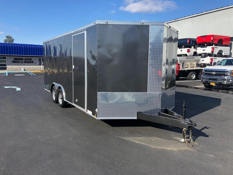 """DIAMOND CARGO 2019 8.5' x 18' GRAY TANDEM AXLE SEMI-SCREWLESS V-NOSE CARGO TRAILER WITH 60"""" TRIPLE TUBE TONGUE EXTENDED"""
