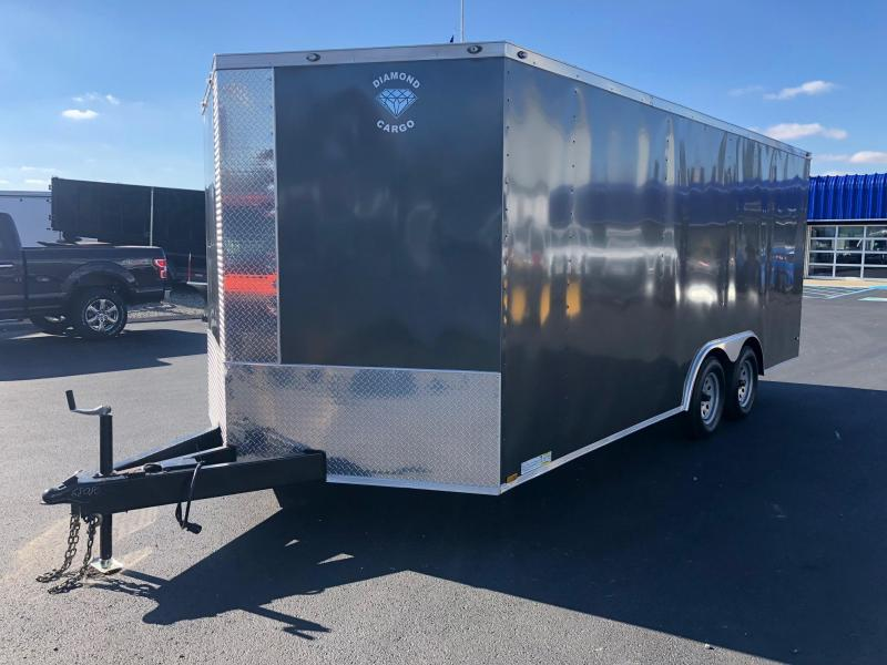 "DIAMOND CARGO 2019 8.5' x 18' GRAY TANDEM AXLE SEMI-SCREWLESS V-NOSE CARGO TRAILER WITH 60"" TRIPLE TUBE TONGUE EXTENDED"