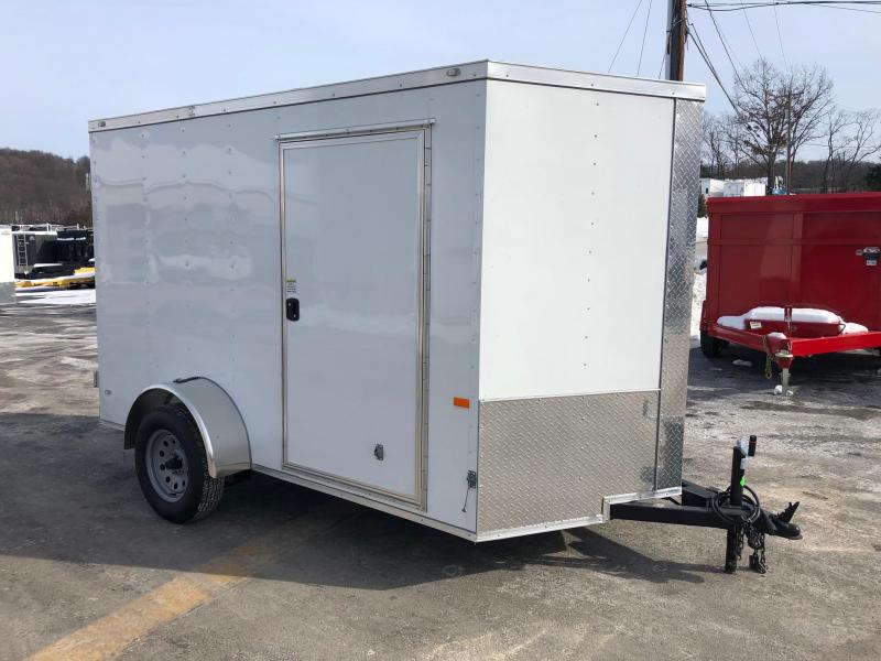 ROCK SOLID 2019 6' x 10' SINGLE AXLE DOUBLE REAR DOORS WHITE ENCLOSED TRAILER