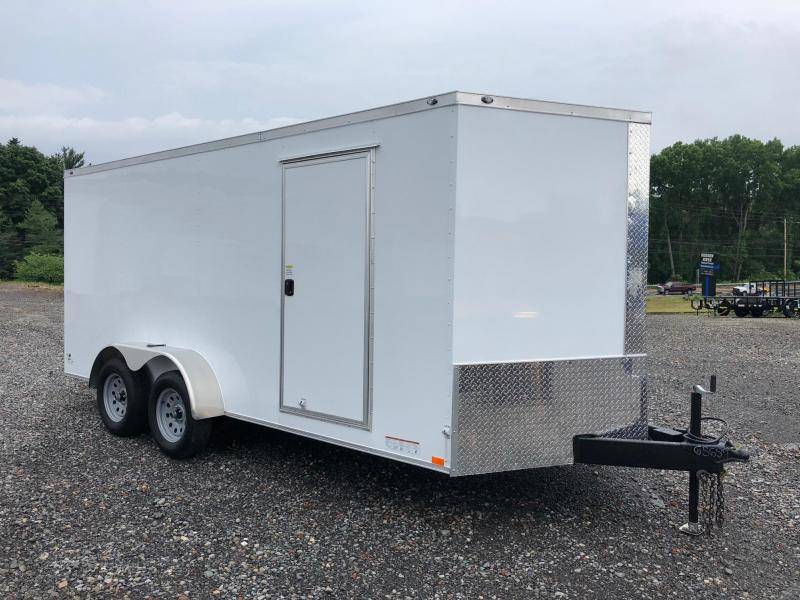 DIAMOND CARGO 2018 7' x 16' WHITE SEMI-SCREWLESS TANDEM AXLE V-NOSE CARGO TRAILER