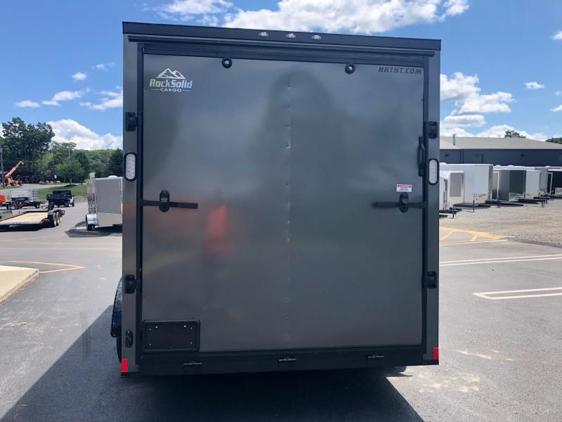 ROCK SOLID 2020 7' x 14 CHARCOAL  WITH BLACKOUT SEMI-SCREWLESS TANDEM AXLE V-NOSE ENCLOSED TRAILER
