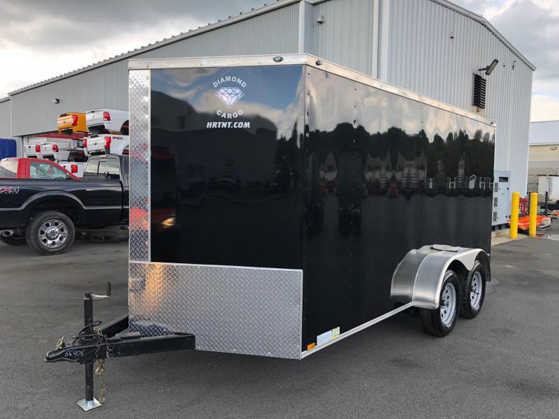 DIAMOND CARGO 2019 7' x 14'  BLACK SEMI-SCREWLESS TANDEM AXLE ENCLOSED CARGO TRAILER