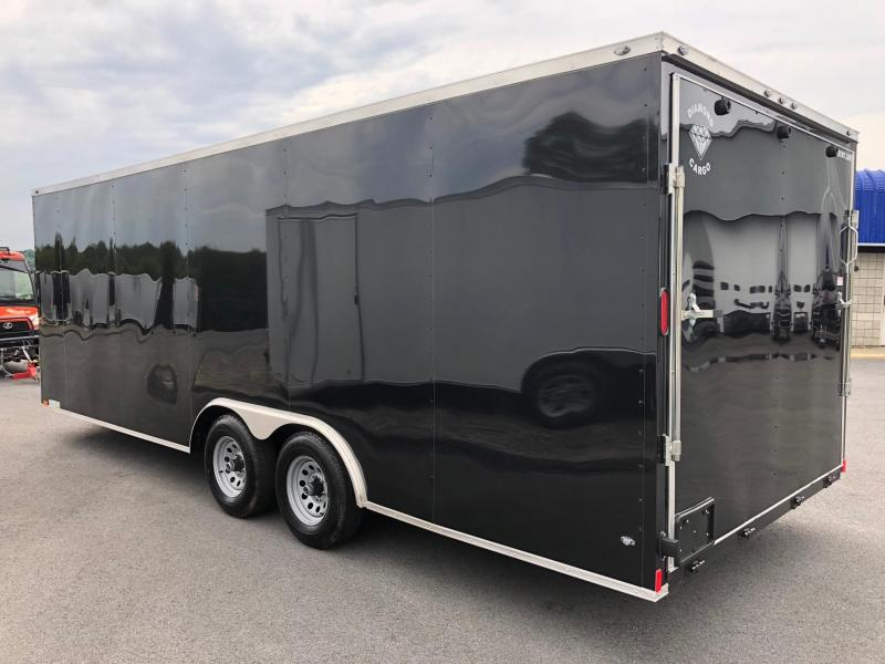 DIAMOND CARGO 2019 8.5' x 22' BLACK SEMI SCREWLESS TANDEM AXLE V-NOSE CARGO TRAILER w/ TRIPLE TUBE TONGUE EXTENDED