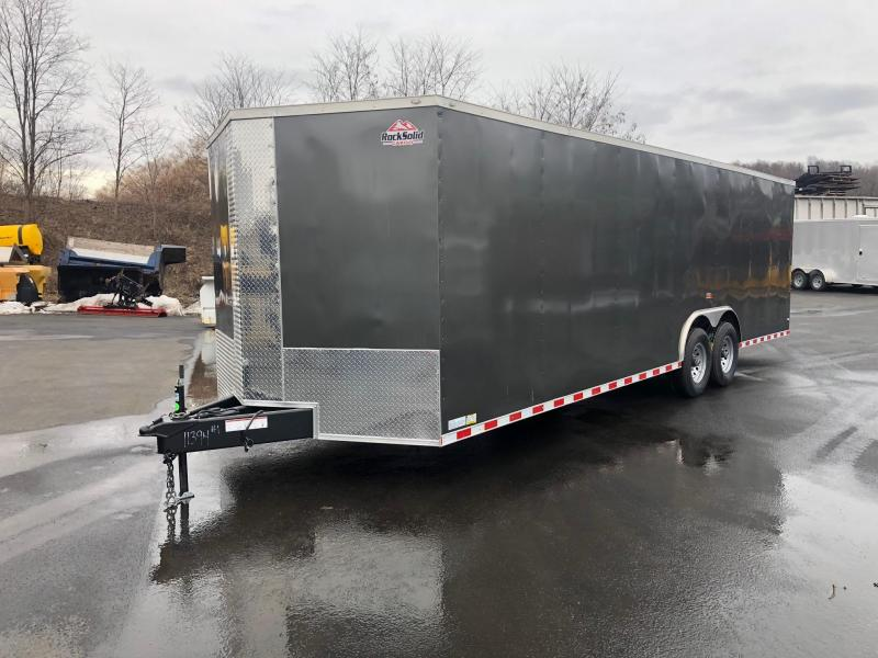 ROCK SOLID 2019 8.5' x 26' TANDEM AXLE SEMI-SCREWLESS CHARCOAL GRAY V-NOSE CARGO TRAILER / CAR HAULER