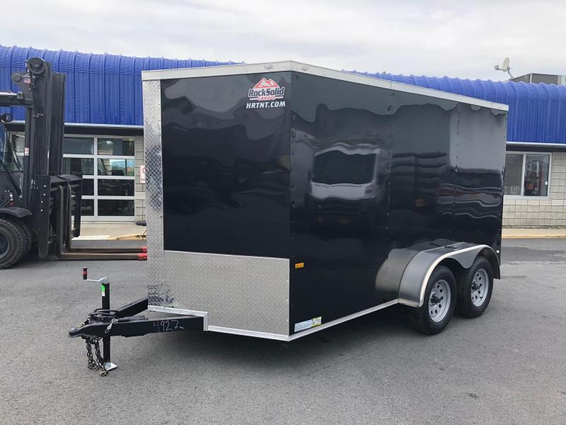 ROCK SOLID 2020 7' x 12'  BLACK SEMI-SCREWLESS TANDEM AXLE V-NOSE ENCLOSED TRAILER