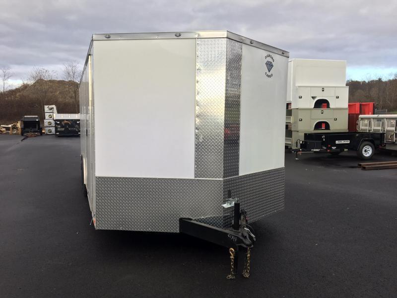 DIAMOND CARGO 2018 8.5' x 20' TANDEM AXLE WHITE ENCLOSED CARGO TRAILER