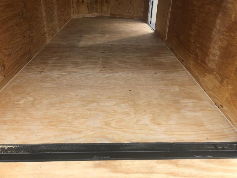 ROCK SOLID 2019 7' x 16' TANDEM AXLE BLACK SEMI SCREWLESS  V-NOSE ENCLOSED TRAILER WITH EXTENDED TONGUE
