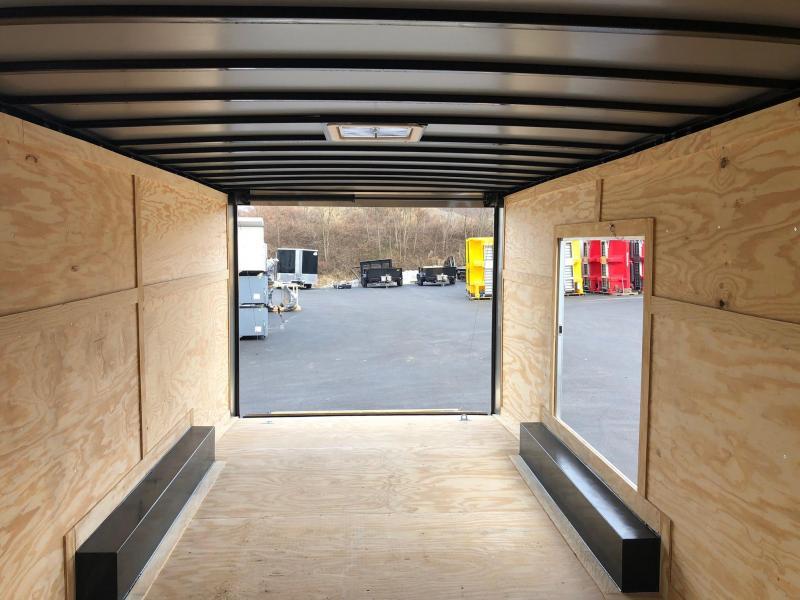 ROCK SOLID 2019 8.5 x 20 Tandem Axle Pewter Semi Screwless Enclosed V-NOSE Trailer with 54x48 Escape Door CAR HAULER