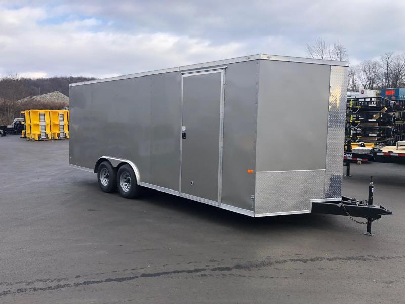 ROCK SOLID 2019 8.5 x 20 Tandem Axle Pewter Semi Screwless Enclosed V-NOSE Trailer with 54x48 Escape Door