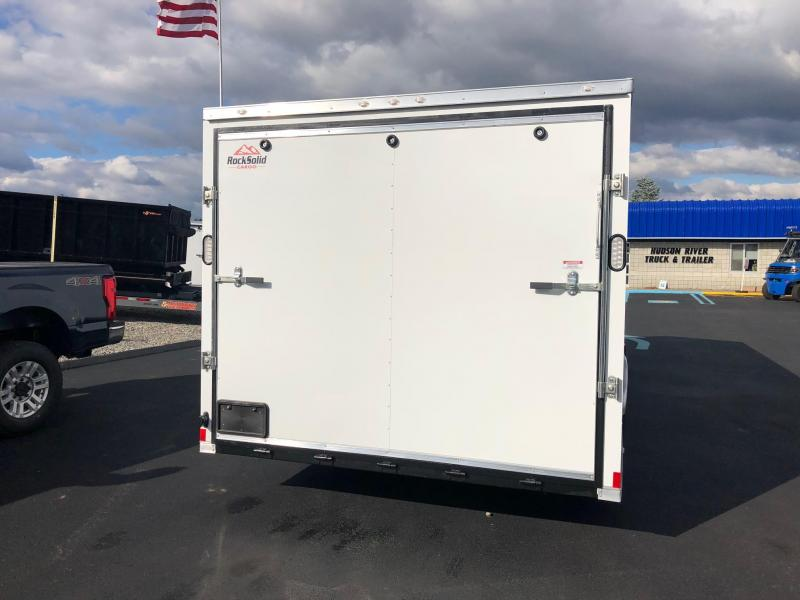 ROCK SOLID 2019 8.5' x 24' TANDEM AXLE WHITE SEMI-SCREWLESS ENCLOSED V-NOSE TRAILER / CAR HAULER WITH TRIPLE TUBE TONGUE