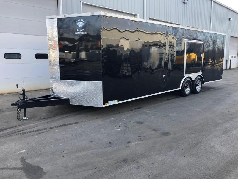 DIAMOND CARGO 2019 8.5' x 24' TANDEM AXLE BLACK WITH TRIPLE TUBE TONGUE AND ESCAPE DOOR ENCLOSED CARGO TRAILER/ CAR HAULER