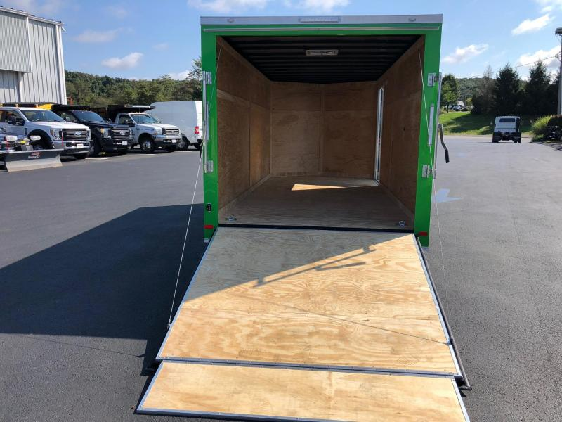 COVERED WAGON 2019 7' x 16' TANDEM AXLE ELECTRIC GREEN SEMI-SCREWLESS V-NOSE ENCLOSED CARGO TRAILER