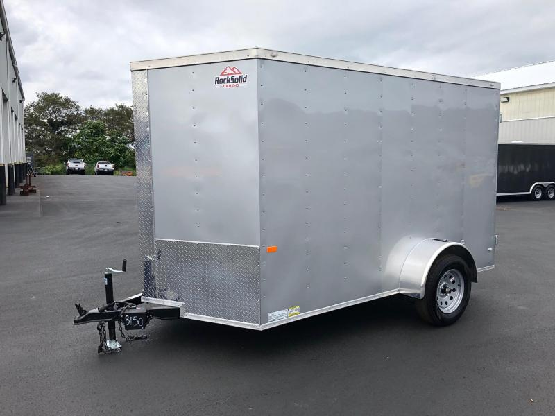 ROCK SOLID 2019 6' x 10' SINGLE AXLE SILVER ENCLOSED TRAILER WITH DOUBLE REAR DOORS