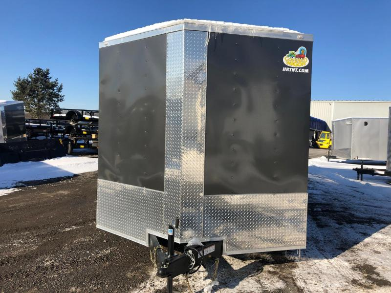 "COVERED WAGON 2019 8.5' X 18' CHARCOAL GRAY TANDEM AXLE ENCLOSED V-NOSE CARGO TRAILER WITH 6"" ADDITIONAL HEIGHT"