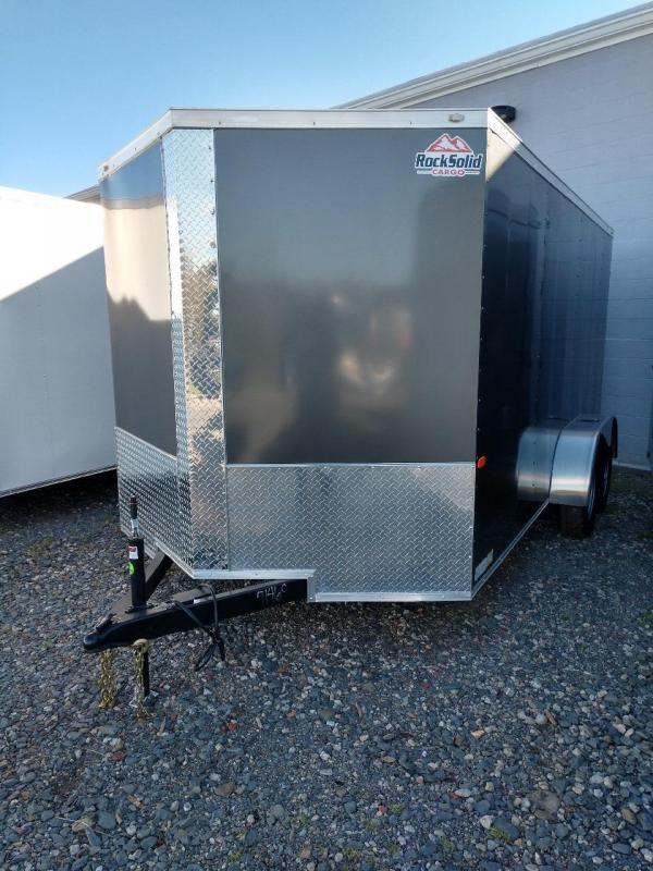 ROCK SOLID 2019 7' x 14 CHARCOAL SEMI-SCREWLESS TANDEM AXLE V-NOSE ENCLOSED TRAILER  SEMI-SCREWLESS