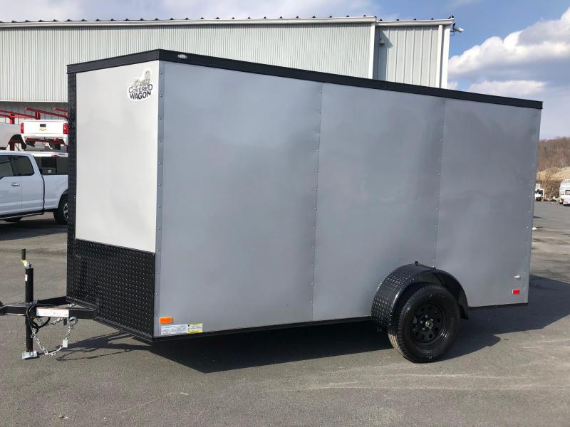 COVERED WAGON 2018 SILVER W/BLACK GOLD PACKAGE 6' x 12' SINGLE AXLE V-NOSE ENCLOSED TRAILER