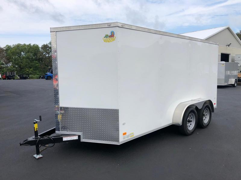 COVERED WAGON 2019 WHITE 7 x 14 TANDEM AXLE SEMI-SCREWLESS ENCLOSED CARGO TRAILER