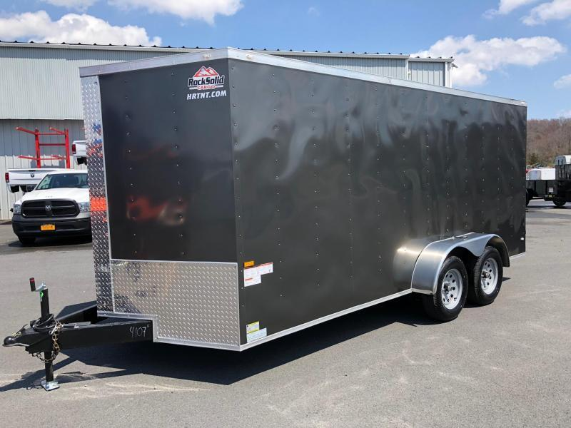 ROCK SOLID 2020 7' x 16' CHARCOAL GRAY TANDEM AXLE V-NOSE ENCLOSED TRAILER