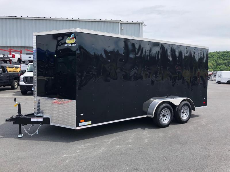 COVERED WAGON 2019 7' x 16' BLACK TANDEM AXLE V-NOSE ENCLOSED CARGO TRAILER