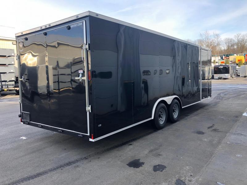 DIAMOND CARGO 2019 8.5' x 24' TANDEM AXLE BLACK WITH TRIPLE TUBE TONGUE AND ESCAPE DOOR ENCLOSED CARGO TRAILER/ CAR HAULER