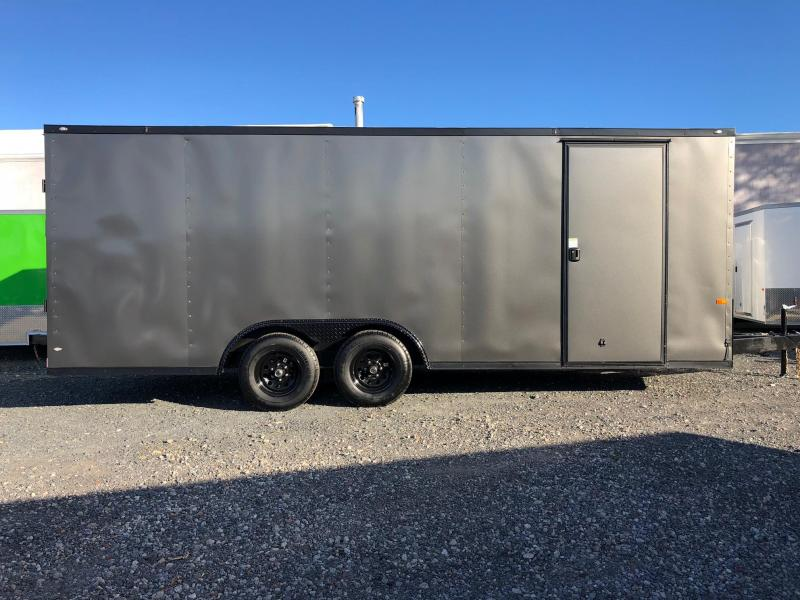 ROCK SOLID 2019 8.5 x 20 Tandem Axle 10000 LB. GVW Charcoal Gray with Black Rock Solid Package Semi Screwless Enclosed V-NOSE Trailer CAR HAULER w/Extended Triple Tube Tongue