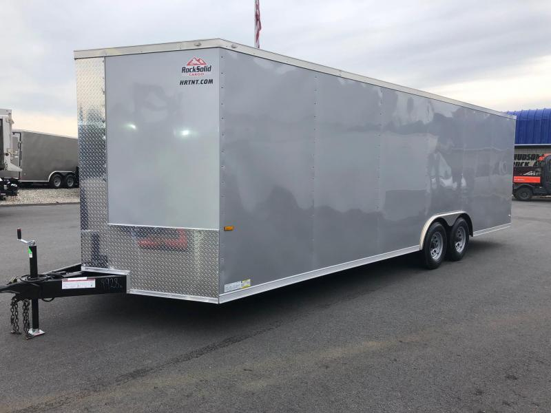 ROCK SOLID 2018 8.5' x 24' TANDEM AXLE SILVER SEMI-SCREWLESS V-NOSE CARGO TRAILER