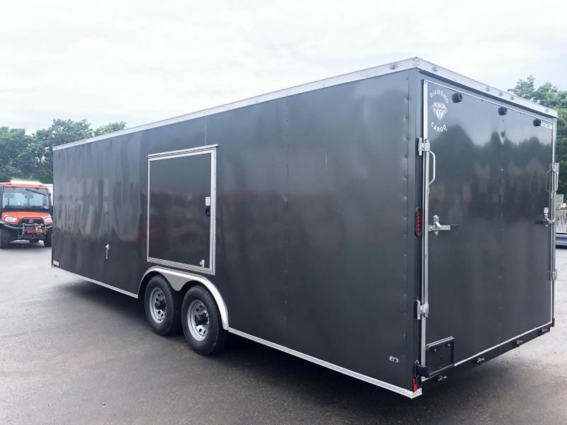 DIAMOND CARGO 2019 8.5' x 24' TANDEM AXLE CHARCOAL GREY SEMI SCREWLESS WITH SIDE ACCESS DOOR ENCLOSED CARGO TRAILER
