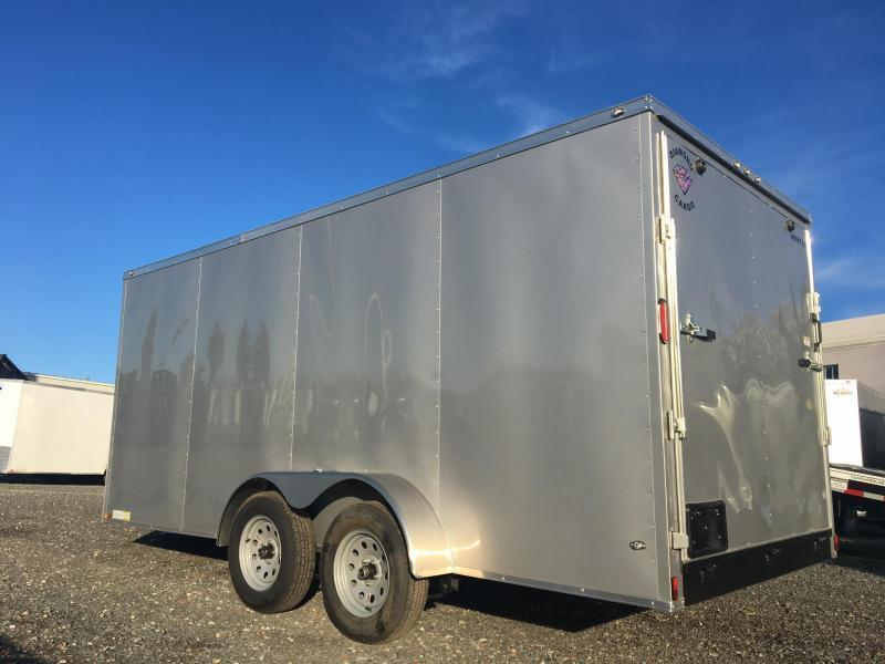 DIAMOND CARGO 2019 7' x 16' WITH XTRA HEIGHT IN REAR SILVER SEMI-SCREWLESS TANDEM AXLE V-NOSE CARGO TRAILER